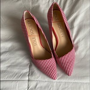 SOLE SOCIETY RED GINGHAM HEELS